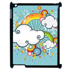 Rainbow Clouds Tree Circle Orange Apple Ipad 2 Case (black)