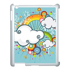 Rainbow Clouds Tree Circle Orange Apple Ipad 3/4 Case (white)