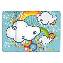 Rainbow Clouds Tree Circle Orange Samsung Galaxy Tab 10 1  P7500 Flip Case