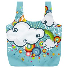 Rainbow Clouds Tree Circle Orange Full Print Recycle Bags (l)