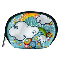 Rainbow Clouds Tree Circle Orange Accessory Pouches (medium)