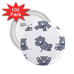 Rhinoceros Animal Rhino 2 25  Buttons (100 Pack)  by Alisyart