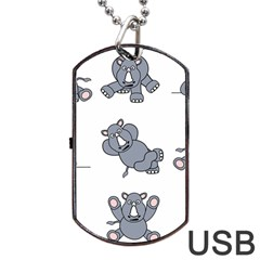 Rhinoceros Animal Rhino Dog Tag Usb Flash (one Side)