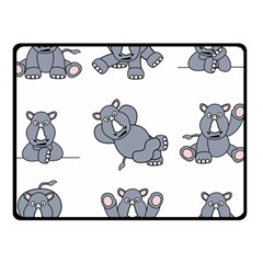 Rhinoceros Animal Rhino Double Sided Fleece Blanket (small)  by Alisyart