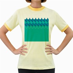 Sea Wave Blue Water Beach Women s Fitted Ringer T Shirts