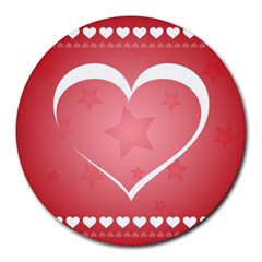 Postcard Banner Heart Holiday Love Round Mousepads