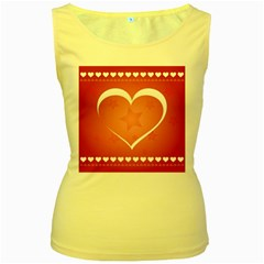 Postcard Banner Heart Holiday Love Women s Yellow Tank Top by Amaryn4rt