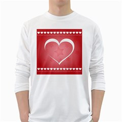 Postcard Banner Heart Holiday Love White Long Sleeve T Shirts by Amaryn4rt
