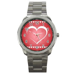 Postcard Banner Heart Holiday Love Sport Metal Watch by Amaryn4rt