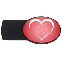 Postcard Banner Heart Holiday Love Usb Flash Drive Oval (4 Gb) by Amaryn4rt