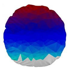 Gradient Red Blue Landfill Large 18  Premium Round Cushions by Amaryn4rt