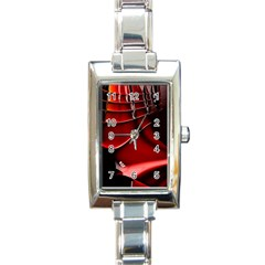 Red Black Fractal Mathematics Abstract Rectangle Italian Charm Watch by Amaryn4rt