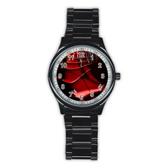 Red Black Fractal Mathematics Abstract Stainless Steel Round Watch