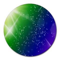 Shiny Sparkles Star Space Purple Blue Green Round Mousepads