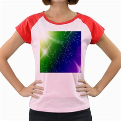 Shiny Sparkles Star Space Purple Blue Green Women s Cap Sleeve T Shirt