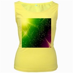 Shiny Sparkles Star Space Purple Blue Green Women s Yellow Tank Top
