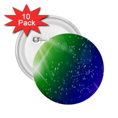 Shiny Sparkles Star Space Purple Blue Green 2 25  Buttons (10 Pack)