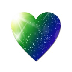 Shiny Sparkles Star Space Purple Blue Green Heart Magnet by Alisyart