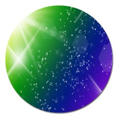 Shiny Sparkles Star Space Purple Blue Green Magnet 5  (round) by Alisyart