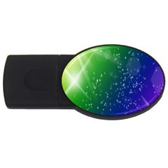 Shiny Sparkles Star Space Purple Blue Green Usb Flash Drive Oval (2 Gb)