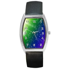 Shiny Sparkles Star Space Purple Blue Green Barrel Style Metal Watch