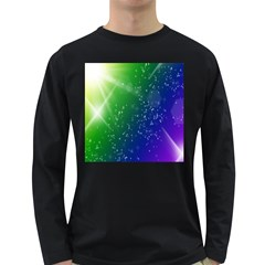 Shiny Sparkles Star Space Purple Blue Green Long Sleeve Dark T Shirts by Alisyart