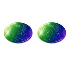 Shiny Sparkles Star Space Purple Blue Green Cufflinks (oval)