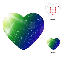 Shiny Sparkles Star Space Purple Blue Green Playing Cards (heart)