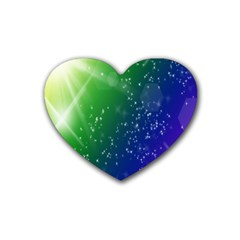 Shiny Sparkles Star Space Purple Blue Green Rubber Coaster (heart)