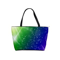 Shiny Sparkles Star Space Purple Blue Green Shoulder Handbags by Alisyart