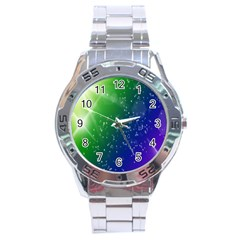 Shiny Sparkles Star Space Purple Blue Green Stainless Steel Analogue Watch by Alisyart