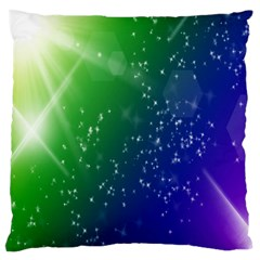 Shiny Sparkles Star Space Purple Blue Green Large Cushion Case (two Sides)