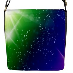 Shiny Sparkles Star Space Purple Blue Green Flap Messenger Bag (s) by Alisyart