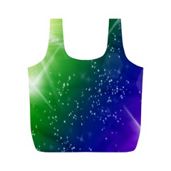 Shiny Sparkles Star Space Purple Blue Green Full Print Recycle Bags (m)