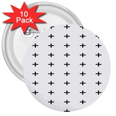 Sign Cross Plus Black 3  Buttons (10 Pack)