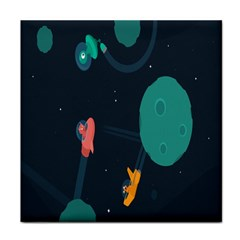 Space Illustration Irrational Race Galaxy Planet Blue Sky Star Ufo Tile Coasters