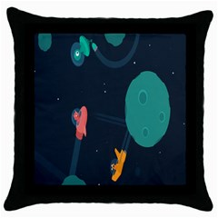 Space Illustration Irrational Race Galaxy Planet Blue Sky Star Ufo Throw Pillow Case (black) by Alisyart