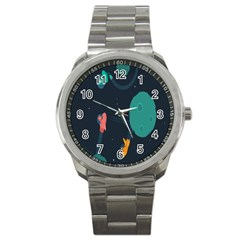 Space Illustration Irrational Race Galaxy Planet Blue Sky Star Ufo Sport Metal Watch