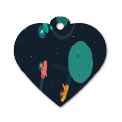 Space Illustration Irrational Race Galaxy Planet Blue Sky Star Ufo Dog Tag Heart (one Side)