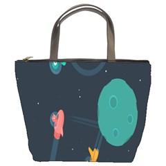 Space Illustration Irrational Race Galaxy Planet Blue Sky Star Ufo Bucket Bags
