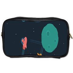 Space Illustration Irrational Race Galaxy Planet Blue Sky Star Ufo Toiletries Bags by Alisyart
