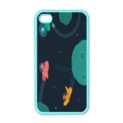 Space Illustration Irrational Race Galaxy Planet Blue Sky Star Ufo Apple Iphone 4 Case (color) by Alisyart