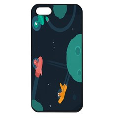 Space Illustration Irrational Race Galaxy Planet Blue Sky Star Ufo Apple Iphone 5 Seamless Case (black)