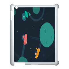 Space Illustration Irrational Race Galaxy Planet Blue Sky Star Ufo Apple Ipad 3/4 Case (white)