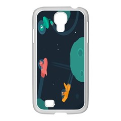 Space Illustration Irrational Race Galaxy Planet Blue Sky Star Ufo Samsung Galaxy S4 I9500/ I9505 Case (white)