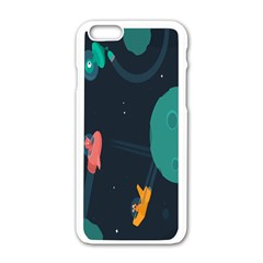 Space Illustration Irrational Race Galaxy Planet Blue Sky Star Ufo Apple Iphone 6/6s White Enamel Case