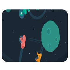 Space Illustration Irrational Race Galaxy Planet Blue Sky Star Ufo Double Sided Flano Blanket (medium)  by Alisyart