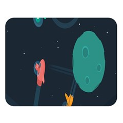 Space Illustration Irrational Race Galaxy Planet Blue Sky Star Ufo Double Sided Flano Blanket (large)