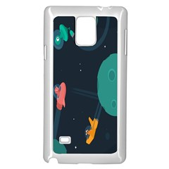 Space Illustration Irrational Race Galaxy Planet Blue Sky Star Ufo Samsung Galaxy Note 4 Case (white) by Alisyart