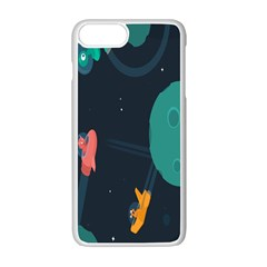 Space Illustration Irrational Race Galaxy Planet Blue Sky Star Ufo Apple Iphone 7 Plus White Seamless Case